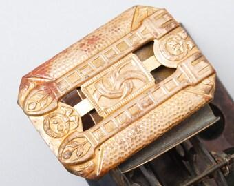 Antique huge brass belt buckle, beginning of 20 th century