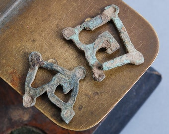 Set of 2 Antique brass plates, pendants, connector with loop, finding, dark patina