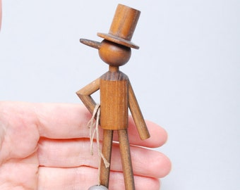 Vintage wooden  figurine, chimney sweep. Hand made statuette