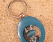 Key Ring, Turquoise Enameled Metal, Beaded, Artisan Lampwork Glass, Hand Crafted, Unique, Custom, Sturdy, Unique, OOAK, SRAJD, KC-11
