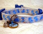 Safety Cat Collar - Mini Dog Collar - Breakaway Collar - Personalized Collar - Blue Roses - Gemstone Charm - Toy Dog Collar