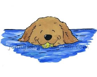 Golden Retriever swimming tennis ball  T shirt UNISEX