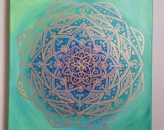 Gold Mandala on Green and Blue