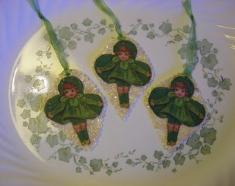 3 Primitive St Patricks Day Bowl Fillers Ornies Lace Glittered