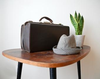 Vintage Bag Doctors Case Brown 70s Top Handle Faux Leather Bag