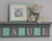 """Mint and Gray Nursery Name Shelves Customized for SAMUEL - 24"""" Grey Shelf - 6 Letter Blocks Mint and Gray, Personalized Baby Nursery Decor"""