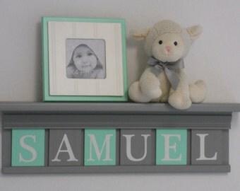 Mint Gray Nursery | Name Shelves | Customized Gifts | Grey Shelf | Letter Blocks | Grey and Mint | Personalized Baby Nursery | Custom Decor