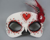 Deluxe Red Ornate Heart Leather Day of the Dead Masquerade Mask, OOAK