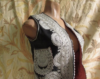 Vintage Hippie Metallic Embroidered Tribal Gypsy Vest small