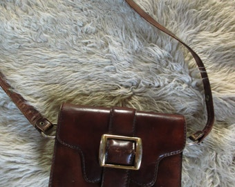 Vintage 60's Burnished Leather Shoulder Bag Mod purse