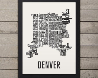 DENVER Neighborhood Typography City Map Print
