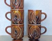 1970s Brown Flame Set of 5 MUGS