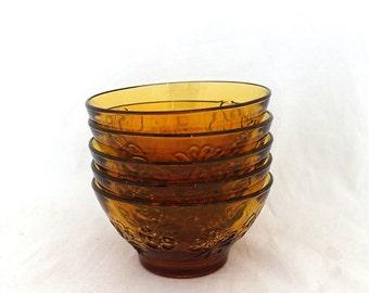 ON SALE Vintage set 1960s 1970s flower pattern pressed amber orange glass dessert bowls