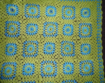 Green Blue Crochet Granny Squuare Baby Blanket Afghan
