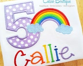 Custom Birthday Number Shirt Personalized Name Rainbow Girls Embroidery Applique