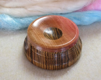 Support Bowl for Hand Spinning in Bocote & Pink Ivory