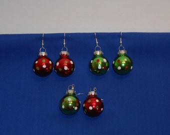 Glass Ball Christmas Ornament Holiday Earrings - Red and Green Glitter Polka Dots