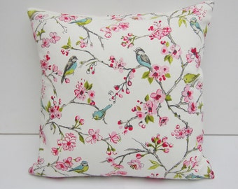 Bird Cushion Cover, Floral Pillow Cover, Pink Floral,  14x14, 16x16, 17x 17, 18x18, 20x20 22 x 22. 24 x 24