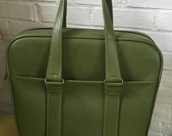 Vintage Olive Green Vinyl Samsonite Travel Carry On Luggage / Bag