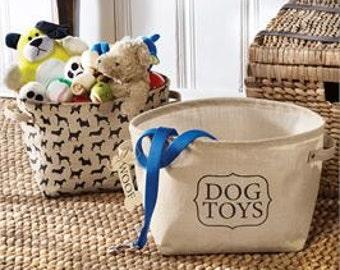 Set of 2 Burlap Dog Toys baskets
