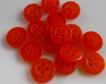 "15 Orange Dashed Flower Small Round Buttons Size 5/16""."