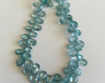 Blue Zircon Faceted Tear Drops-8x5mm