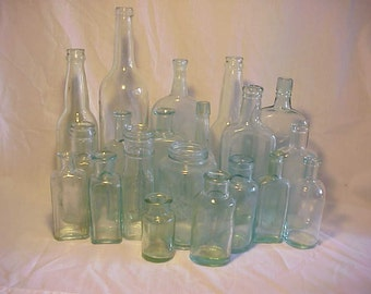 c1870-1920 Group of 20 Cork Top Mixed Aqua Glass Medicine, Food and Beverage Bottles Great for Wedding Decor Lot No. 2