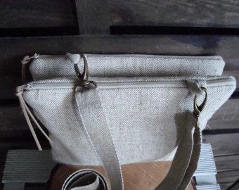 Cross body organizer Bag, Rough linen zippered clutch, crossbody bag