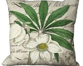 White Hellebores Blossoms on French Script Choice of 14x14 16x16 18x18 20x20 22x22 24x24 26x26 inch Pillow Cover