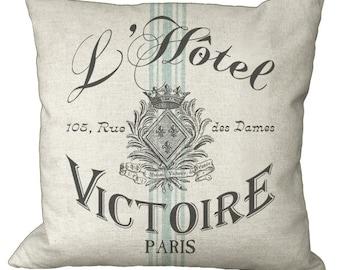 Paris Hotel Aqua Grain Sack  in Choice of 14x14 16x16 18x18 20x20 22x22 24x24 26x26 inch Pillow Cover