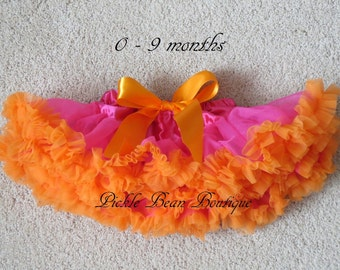 Pettiskirt, Tutu, 0-9 mo, Hot Pink Orange Tutu, Newborn, Photo Prop, Infant Tutu, Baby Tutu, Girls Pettiskirt, 1st Birthday Girl Outfit