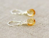 Golden Yellow Citrine Earrings, Argentium Sterling Silver French Hoops, November Birthstone, Gift Under 25