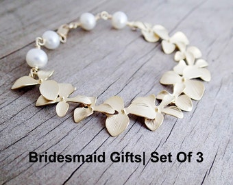 DISCOUNTED Set of 3 Cascading Gold Plated Flower Orchid Bracelet with Freshwater Pearls, Gold Tropical Bracelet, Bridesmaid Gift, Wedding
