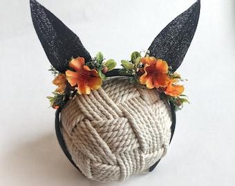 Black cat ear headband, photography prop, sitter Halloween headband,  newborn photography