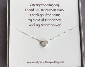 Bridesmaid heart necklace, silver cz pave, cubic zirconia, maid of honor bridesmaid flower girl gift, everyday jewelry, bridal party N245