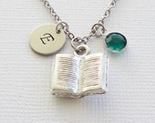 Silver Book Necklace, Open Book, Reader's Necklace, Librarian, Author Gift, Writer, Book Lover, Initial Necklace, Birthstone Necklace