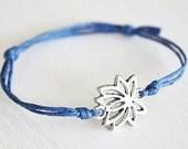 Lotus Flower Bracelet or Anklet In Silver, Lotus Bracelet, Flower Bracelet, Floral Jewelry, Meditation, Yoga Gift, BFF Gift, Friendship Gift