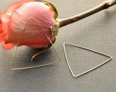 Gold Triangle Hoop Earrings, Large Triangular Earrings, 14K Gold Filled Geometric Hoops, Edgy Futuristic Earrings