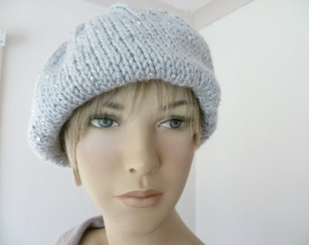Ladies hat hand knitted slouchy beanie hat FREE UK SHIPPING