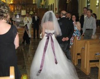 Elbow length, single layer wedding bridal veil, White, Ivory, diamond white,