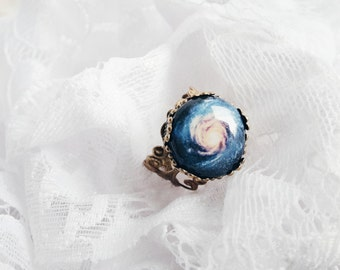 Blue Galaxy ring Universe ring Space ring Nebula ring Space Nebula Jewelry Cosmos ring Nebula Jewelry Night Sky Blue Light Gift For Her