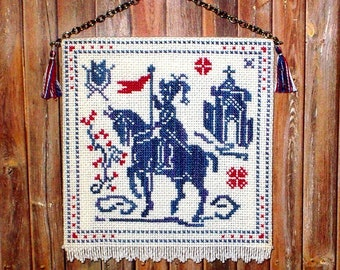 Medieval Knight Tapestry, Dollhouse Miniature 1/12 Scale, Chivalry, Hand Made in the USA
