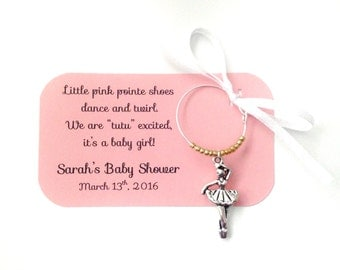Ballerina baby shower wine charm favors: 1 charm set. Ballet and Tutus. It's a Girl theme Baby Shower Favors & Party Favors. 1 to 50 favors.