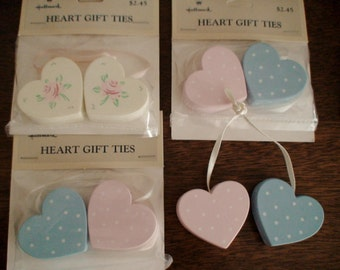 Collection of 4 Heart Gift Ties,Sweet Three Blue and Pink Polka Dots,One Cabbage Rose,Satin Ribbon Ties, Hallmark Cards,New Stock Collection