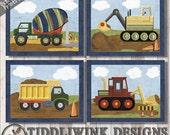 Christopher Construction- Wall Art for Nursery -baby boy nursery decor, boy's room art, transportation nursery prints, Navy blue big boy art
