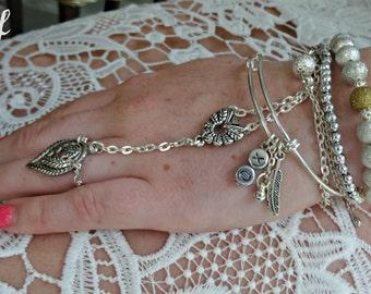 Hand Chain Slave Bracelet Chain Bracelet Boho Bracelet Body Jewelry Boho Wedding Wedding Bracelet Beach Wedding Festival Fashion - Sivy