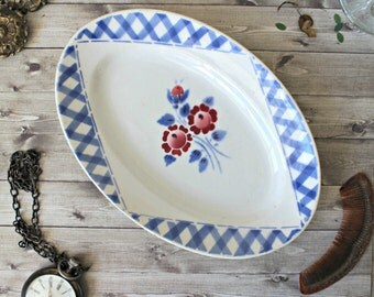 French vintage dish ravier Lunéville earthenware faience 1960s retro collection shabby chic french country