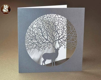 Stag - Large Laser Cut Square Greetings Card by Paper Panda