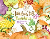 Fabulous Fall. 38 Watercolor Elements, handpainted clipart,pumpkins, gourds, halloween, autumn, Thanksgiving, harvest, invite, greeting
