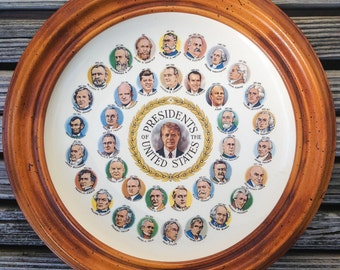 Vintage Presidents of the United States Plate featuring Jimmy Carter - Ceramic Plate, Framed Plate, Vintage Plate, U.S. Presidents Plate